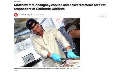 Matthew McConaughey cooked and delivered meals for first responders of California wildfires